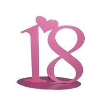 Dekoration Tortendeko Zahl 18 rosa, Metall, ca. 15 x 15 cm, 18 Geburtstag