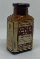 Antique Parke Davis & Co Calomel And Soda Bottle Apothecary Pharmacy