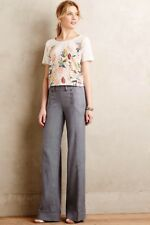 $118 Elevenses Anthropologie Tailored Blue Chambray Linen Sailor Wide Leg Pant 2