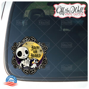 """Baby Jack & Zero Characters """"BABY ON BOARD"""" Vinyl Car Decal Sticker"""