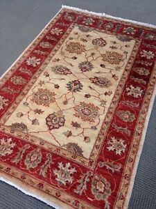 Oriental Area Rug Chobi Peshawar Transitional gold Knotted wool Rare 4' X 6'