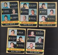 1972 - 73 O-Pee-chee  Lot of  5 NHL LEADERS EX+ OPC ORR ESPO HULL RATELLE
