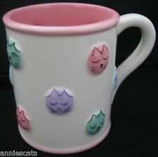 Unusual Cat China Mug Hand Painted Pastels Cat Faces by Kitty & Pooch