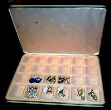 Vintage 24 Slot Jewelry Box w/5 Pair Old Screwback Earrings 3 Rhinestone Pins SP