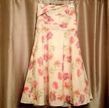 $178 NWT Banana Republic 6 Floral Strapless Cocktail Party Dress Ivory Pink