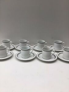 8 x Vintage Tienshan Royal Thailand Silver Lines Fine Porcelain Cups & Saucers