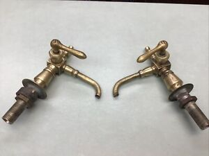 Vintage Solid Brass Faucets Lot of 2 Beautiful Shape Farmhouse Chic