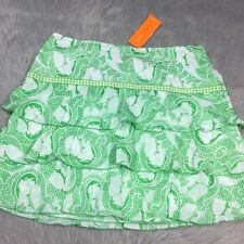 NWT Cynthia Steffe Green White Tiered Ruffle Skirt Sz 12 Novelty Print