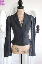 BNWT Diane Von Furstenberg 8 Small Jacket Blazer Grey Silver Pin Stripe Wool DVF
