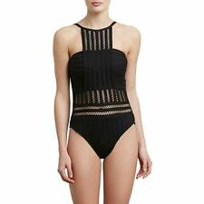 Kenneth Cole New York Women's High Neck Bandeau One Piece Swimsuit, Black/Croche