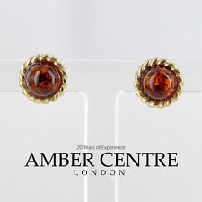 Italian Made unique German Baltic Amber Studs In 9ct Gold GS0022 RRP £100!!!