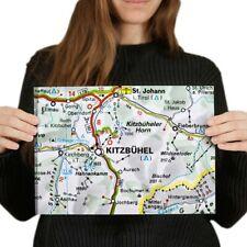 A4  - Kitzbuhel Austria Town Europe Travel Map Poster 29.7X21cm280gsm #45478