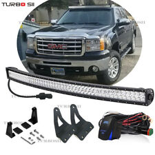 "54"" Curved LED Light Bar+Mount Bracket Fit For 07-13 GMC Sierra 1500 2500 3500"