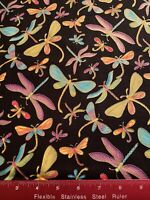Metallic Gold Butterflies Dragonflies Cotton Fabric BTHY