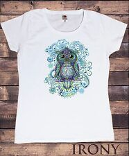 TS843 Women's White Tee Colourful Owl Abstract Icon- Flowery Tie Dye Print