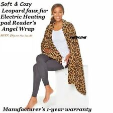 Soft & Cozy Leopard faux fur Electric Heating pad Reader's Angel Wrap Throw