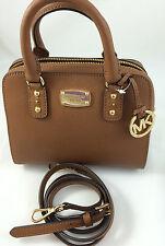 NEW Michael Kors MK Saffiano Leather Mini Satchel Shoulder Purse Handbag Brown