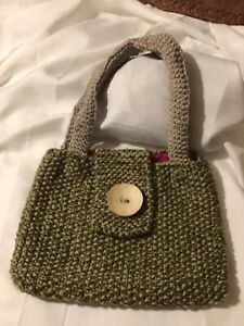 New Beautiful. Hand Knitted Hand Bag ..Lined .. Cream/fawn 11 X 12 Approx