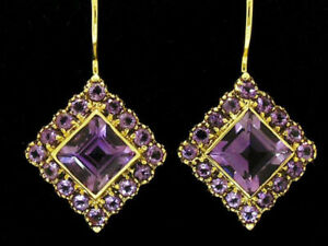 E165 VINTAGE style GENUINE 9ct SOLID Gold Natural Amethyst Cluster Earrings