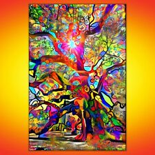 NIK TOD ORIGINAL PAINTING LARGE SIGNED ART TEXTURE COLOR AMAZING COLORFUL TREE 2