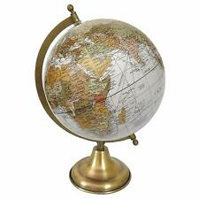 World Map Antique Globe Beautiful Table Decor Home Office Globe White, 12.5 Inch