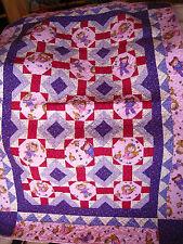 Vintage Quilt/Lap Quilt Girl's Cabbage Patch Kids Purples, Pinks~Sweet~EUC 45x65
