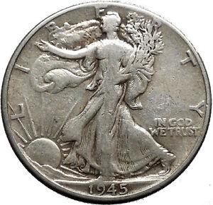 1945 WALKING LIBERTY Half Dollar Bald Eagle United States Silver Coin i44722