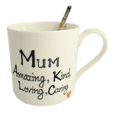 Mum Fine Bone China Mug and Spoon Gift Set (Black/Silver)