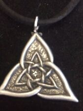 "CELTIC TRIANGLE DR55 Made From Fine English Pewter On a 18"" Black Cord Necklace"