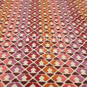 Design Geometric Modern Pattern Purple Red Pink Orange Upholstery Velvet Fabrics