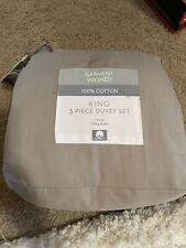 Garment Washed Solid King 3 Piece Duvet Cover Set in Fog New Open Bag