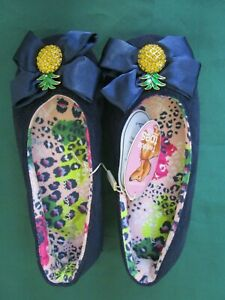 Ladies Peter Alexander navy slippers with Pineapple bling Size 7    NWT