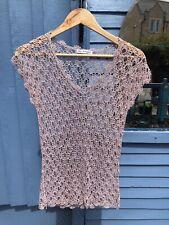 """Vintage Style AUTOGRAPH Crochet Lace Top , Size S, ( 34""""Bust), Pink Lurex, #33"""