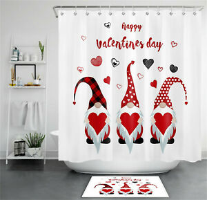 Happy Valentine's Day Gnomes Hold Red Hearts Shower Curtain Set Bathroom Decor