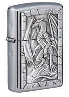 Zippo Dragon Emblem Design Street Chrome Windproof Pocket Lighter, 49296