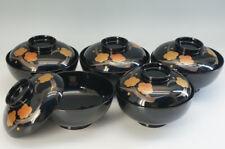 Japan URUSHI MAKI-E Soup Bowl Set 5pc Plum Blossoms Free Shipping 118f28