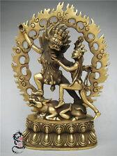 Chinese Tibet Buddhism Bronze Oxen Buddha Yamantaka Yama Dharmaraja Statue