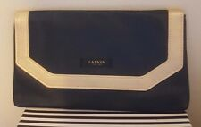 LANVIN Parfums FAUX Leather BLACK & GOLD Trim Pouch Clutch Cosmetic Case Bag