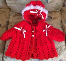 Romany Hand Crochet Bonnet And Cardigan Babies 0/3 With Sparkle Edge And Fluff