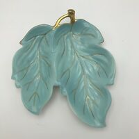 Carlton Ware Handpainted Blue Made In England Decorative Gold Branch Leaf Dish