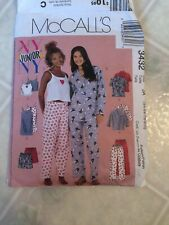 McCALLS 3432 PJs/Top Pants/Shorts Camisole Nightgown Jrs. sizes 3/4 5/8 7/8 9/10