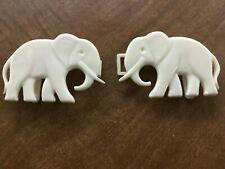 Vintage Belt Buckle White Plastic Interlocking Elephant Buckle 1970s