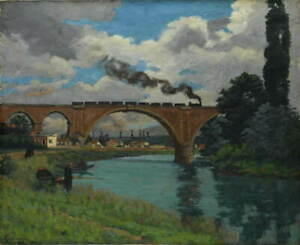 Armand Guillaumin Railroad Bridge over the Marne Joinville Giclee Canvas Print
