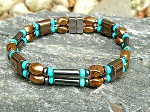 Men's Women's Silver Copper Black Magnetic Bracelet Anklet 2 Row Turquoise