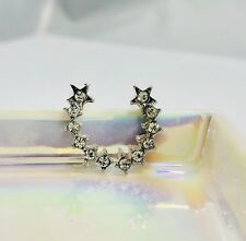 Womens Earrings 1pair Stud Silver CZ Climber Bohemian Inspired Crystal US Star