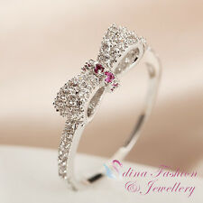 18K White Gold Plated Simulated Diamond Studded Delicate Bow-knot Ring Jewellery