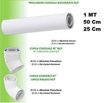 TUBO PROLUNGA E CURVA COASSIALE 60/100 condensazione PPs/ALL. 50 cm o 1 Mt