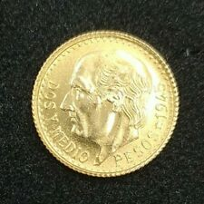 Currency Of Gold. 2 And Medium Mexican Pesos 1945. 22 Kilates. Miguel Hidalgo