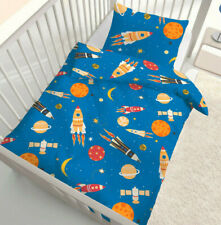 Baby Bettwäsche 100x135 cm Weltraum, Rakete, Satellit, Mond, Sterne Biber B-Ware