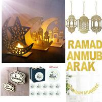 Islam Eid Ramadan Mubarak Hanging Garland Decoration Wooden LED Lantern DIY Home